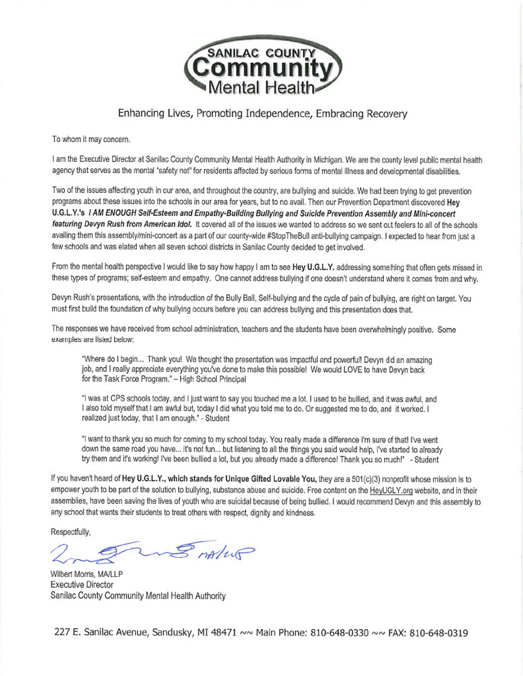 Sanilac Mental Health Ltr Of Recommendation1024_1